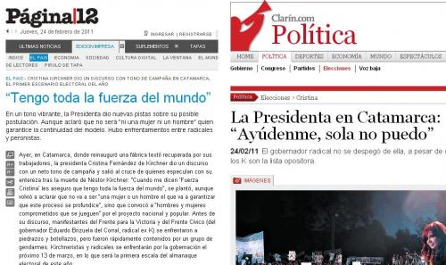 El discurso de Cristina es totalmente opuesto según lo analice Clarín o Página/12