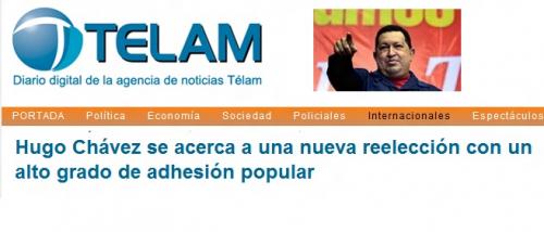 Con fondos públicos, Télam hace campaña para Hugo Chávez