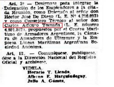 El documento que prueba que Carlos Tomada fue funcionario en la dictadura